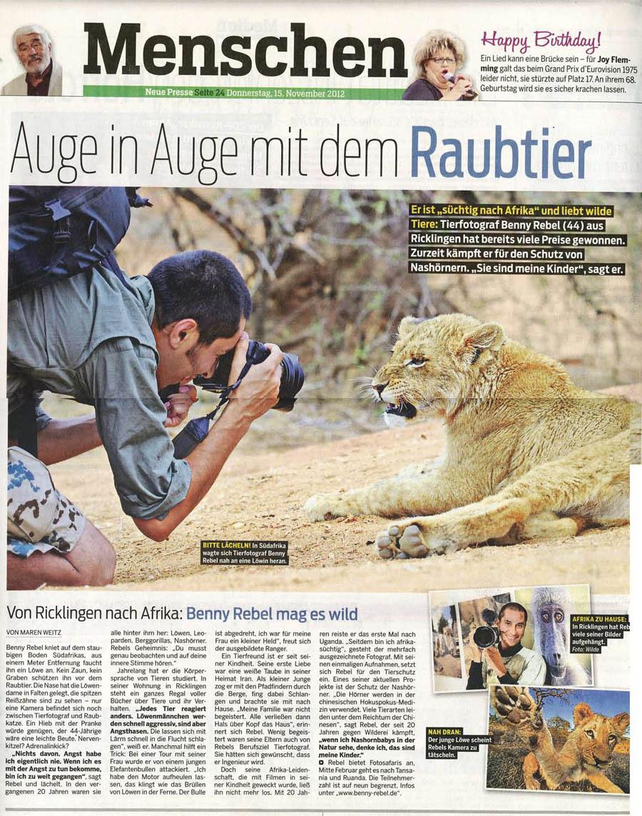 NeuePresse-15-11-2012-Benny-Rebel-Fotoreise-Tansania-900px